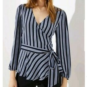 Loft Stripe Wrap Blouse